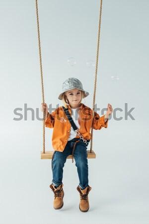 happy child with dog Stock photo © LightFieldStudios