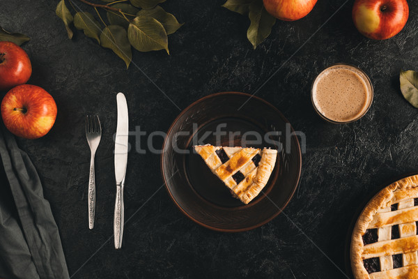 piece of apple pie on plate Stock photo © LightFieldStudios