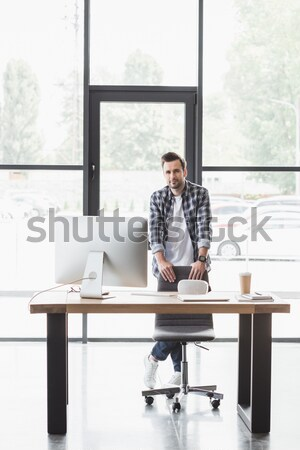 businessman working with desktop computer Stock photo © LightFieldStudios