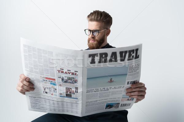 Stok fotoğraf: Portre · şık · adam · gözlük · okuma · gazete