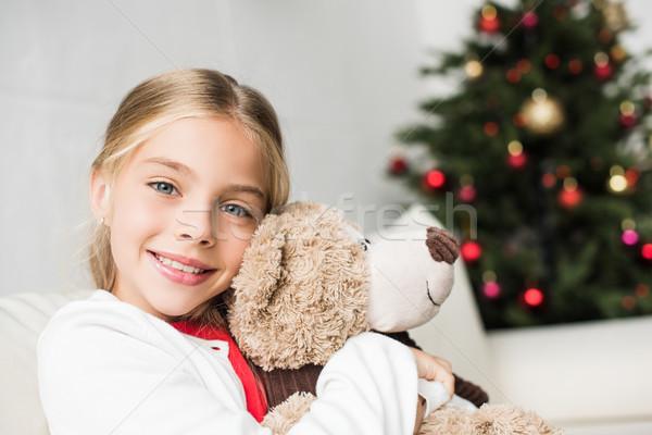 Kid teddybeer glimlachend vergadering sofa Stockfoto © LightFieldStudios
