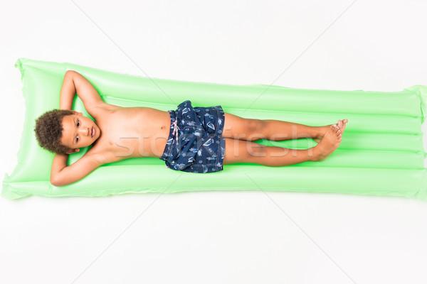 Fiú úszik matrac aranyos kicsi afroamerikai Stock fotó © LightFieldStudios