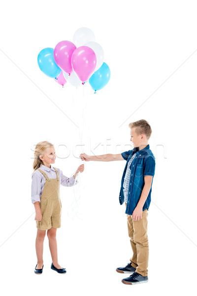 happy kids with balloons Stock photo © LightFieldStudios