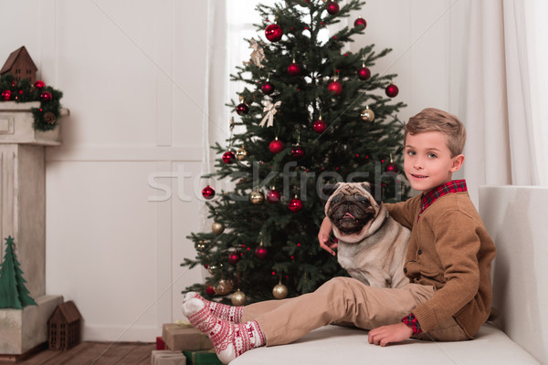 boy sitting on couch with pug Stock photo © LightFieldStudios