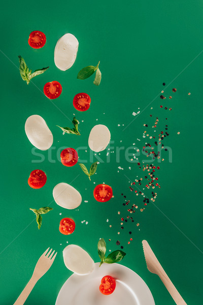 Vista mozzarella queso tomates cherry espinacas Foto stock © LightFieldStudios