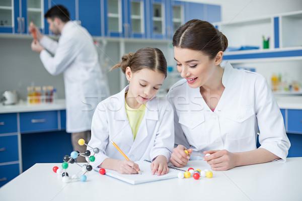 笑みを浮かべて 教師 学生 科学者 作業 分子の ストックフォト © LightFieldStudios