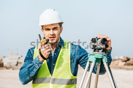 Little boy with toy drill Stock photo © LightFieldStudios