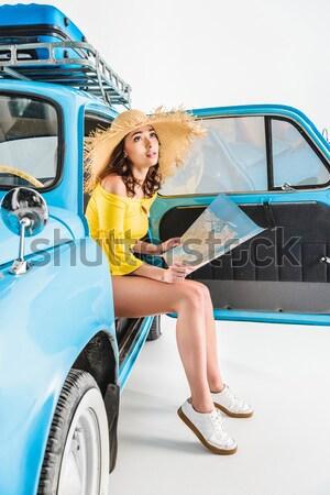 attractive girl in minivan Stock photo © LightFieldStudios