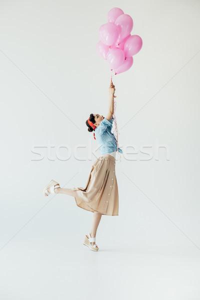 ストックフォト: アジア · 女性 · 風船 · 側面図 · 美しい