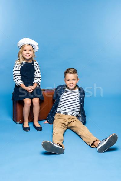 kids with suitcase Stock photo © LightFieldStudios