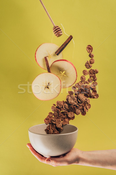 Stock photo: cropped shot of woman holding bowl with levitating breakfast
