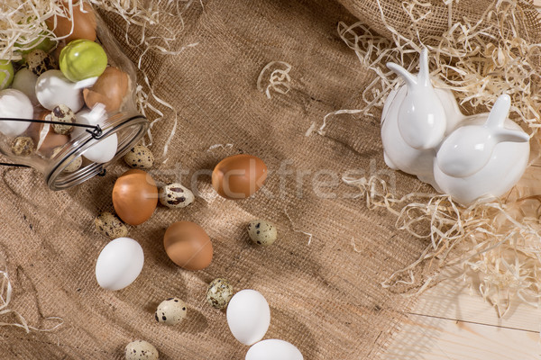 Quail and chicken eggs Stock photo © LightFieldStudios
