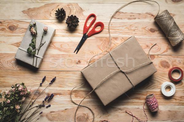 christmas gift and decorations Stock photo © LightFieldStudios