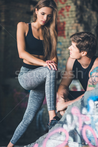 woman in sportswear stretching Stock photo © LightFieldStudios