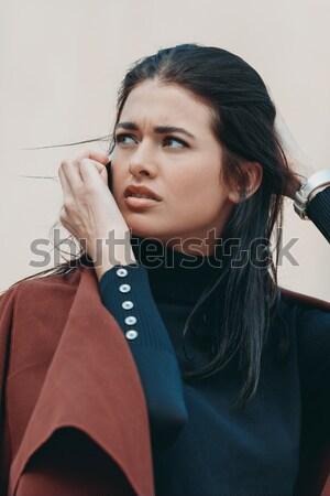 Mujer de moda turquesa vestido retrato mujer hermosa Foto stock © LightFieldStudios