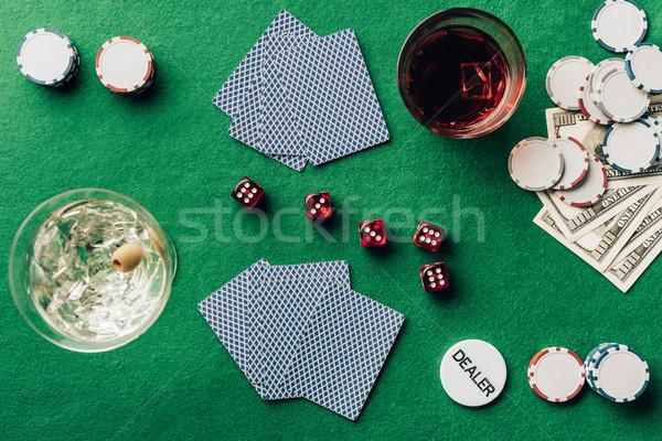 Jogos de azar álcool cassino tabela cartões dados Foto stock © LightFieldStudios