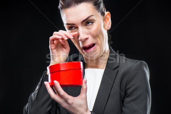 Zakenvrouw Rood speelgoed hart huilen Stockfoto © LightFieldStudios