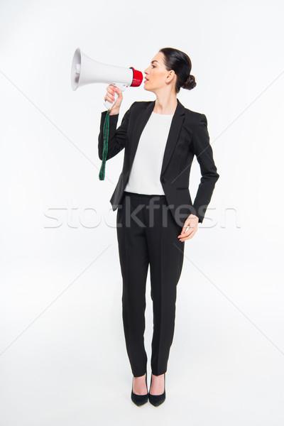 üzletasszony tart megafon profi fiatal beszél Stock fotó © LightFieldStudios