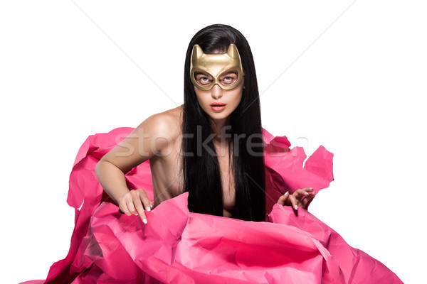 Frau Teufel Maske rosa Papier Stock foto © LightFieldStudios