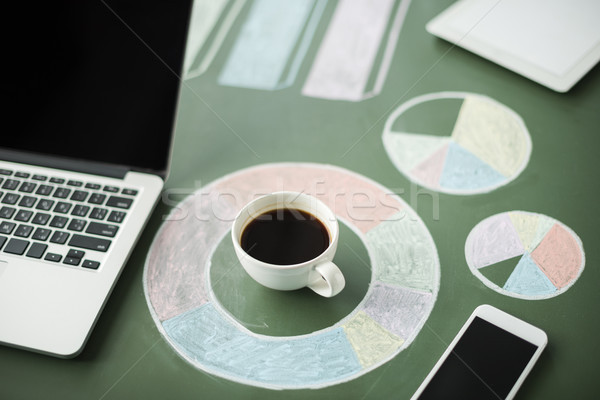 Close-up view of laptop and business charts with cup of coffee and smartphone  Stock photo © LightFieldStudios