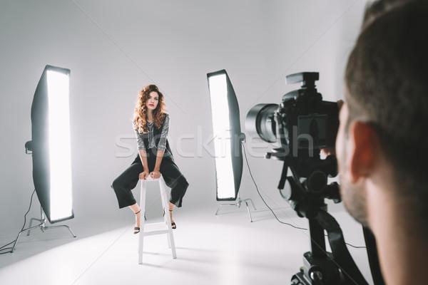 Fotograf model studio zawodowych piękna moda Zdjęcia stock © LightFieldStudios