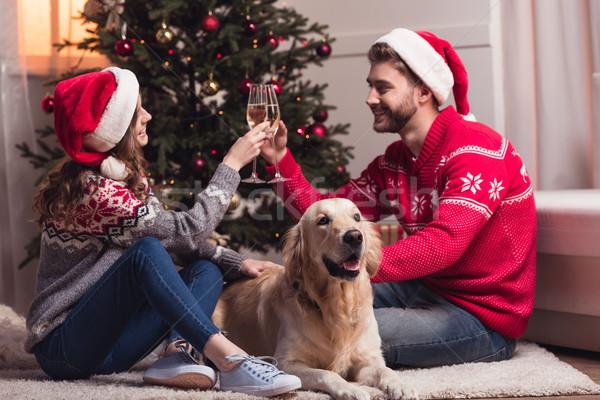 Zdjęcia stock: Para · pitnej · szampana · szczęśliwy · posiedzenia