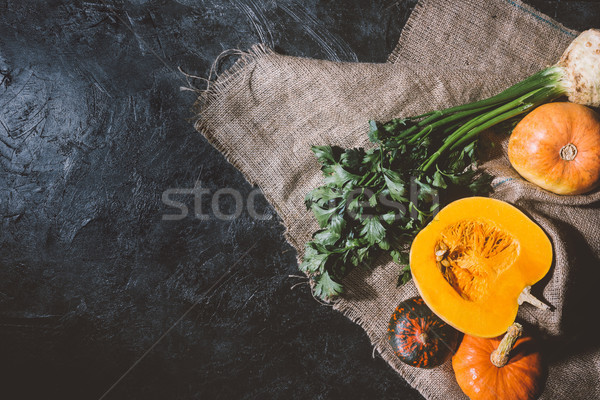 autumn vegetables on sackcloth Stock photo © LightFieldStudios
