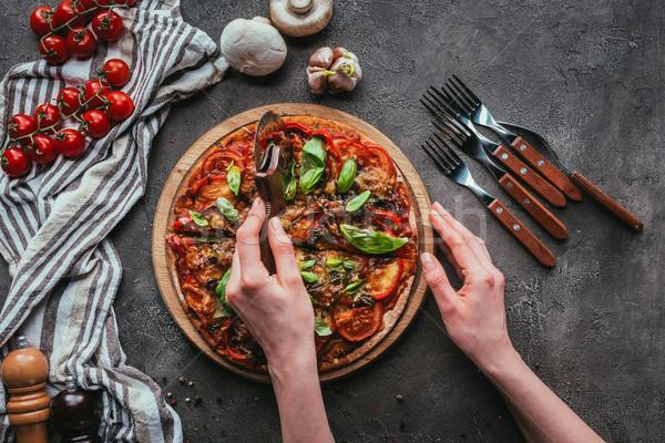 Superior vista pizza círculo concretas Foto stock © LightFieldStudios
