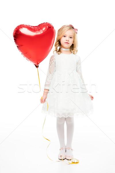 ストックフォト: 少女 · 中心 · バルーン · 愛らしい · 女の子