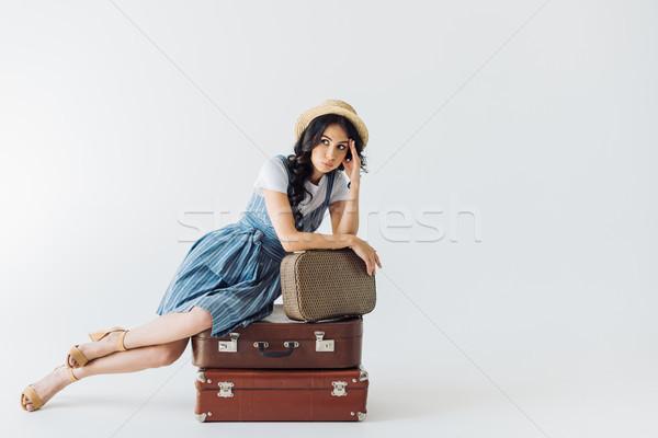 Yorgun kadın oturma bagaj kafa Stok fotoğraf © LightFieldStudios