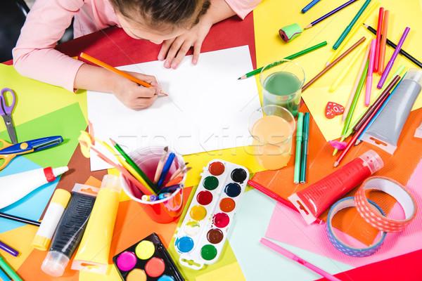 Schoolchild drawing picture Stock photo © LightFieldStudios