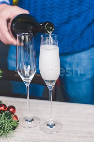 ストックフォト: シャンパン · クローズアップ · ショット · 男 · ガラス
