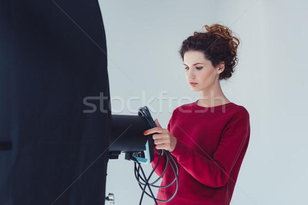 female photographer with softbox  Stock photo © LightFieldStudios