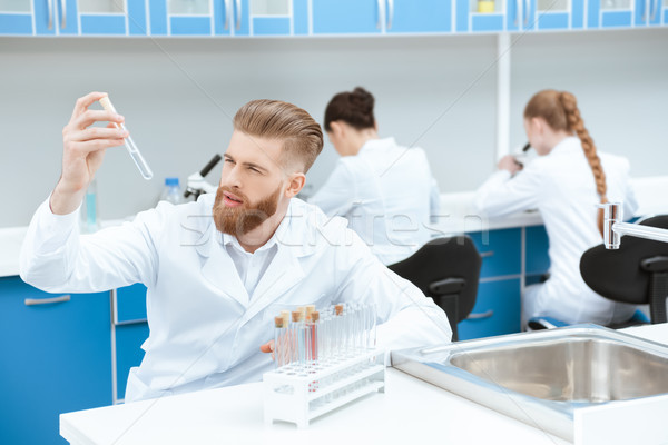 Young bearded chemist in white coat examining test tube in laboratory Stock photo © LightFieldStudios