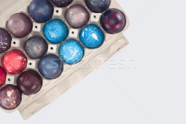 üst görmek paskalya yumurtası tepsi yalıtılmış beyaz Stok fotoğraf © LightFieldStudios