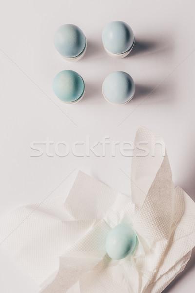 Felső kilátás tyúk tojások szalvéta festmény Stock fotó © LightFieldStudios