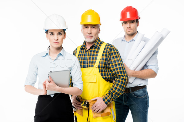 Two architects and workman Stock photo © LightFieldStudios