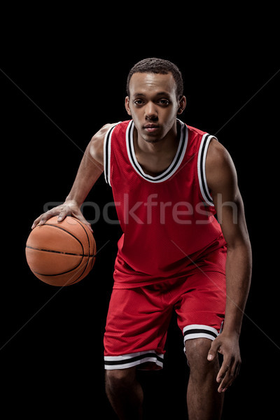 Stockfoto: Jonge · uniform · spelen · basketbal · bal