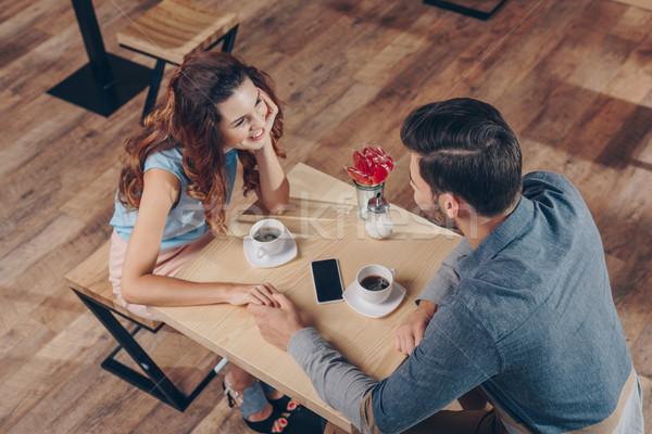 couple having date in cafe Stock photo © LightFieldStudios