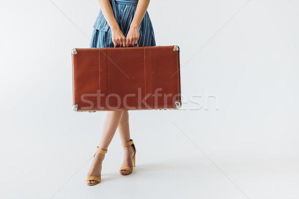 Kobieta walizkę widoku retro odizolowany Zdjęcia stock © LightFieldStudios