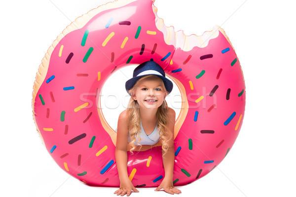 happy child with swim tube Stock photo © LightFieldStudios