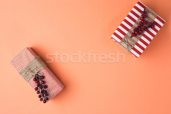 christms gift boxes with ribbons Stock photo © LightFieldStudios