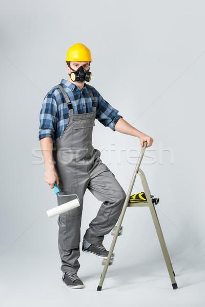 Festék védőruházat áll létra építkezés fiatal Stock fotó © LightFieldStudios
