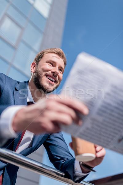 Stock photo: stylish businessman with newspaper