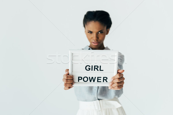 african american woman with girl power board Stock photo © LightFieldStudios