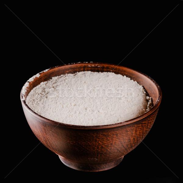 Brązowy puchar mąka odizolowany czarny żywności Zdjęcia stock © LightFieldStudios
