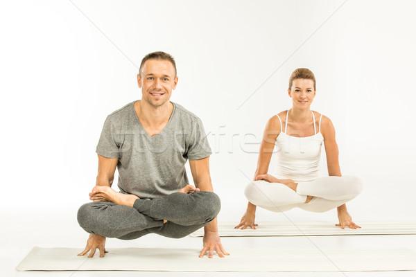 Stok fotoğraf: çift · oturma · yoga · pozisyon · genç