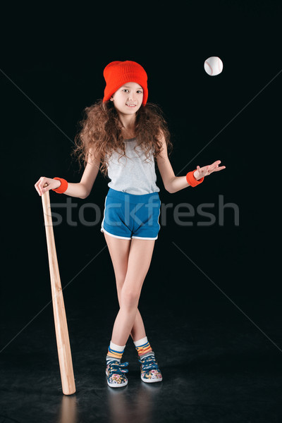 sportive girl with baseball equipment isolated on black, active kids concept Stock photo © LightFieldStudios