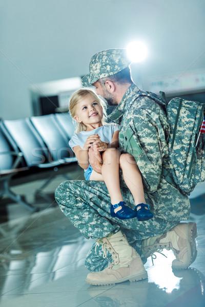 daughter meeting father at airport Stock photo © LightFieldStudios