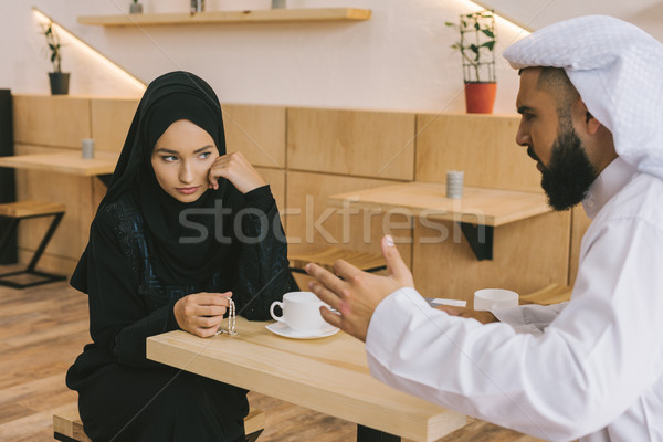 Stock photo: muslim couple having argument